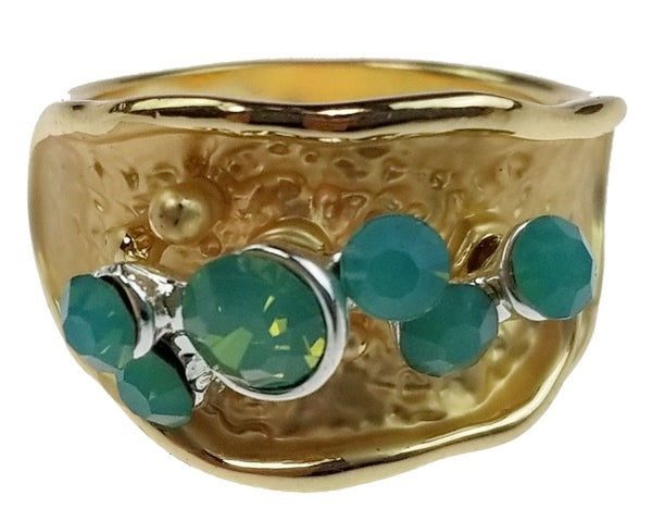Gold Band with Pacific Opals