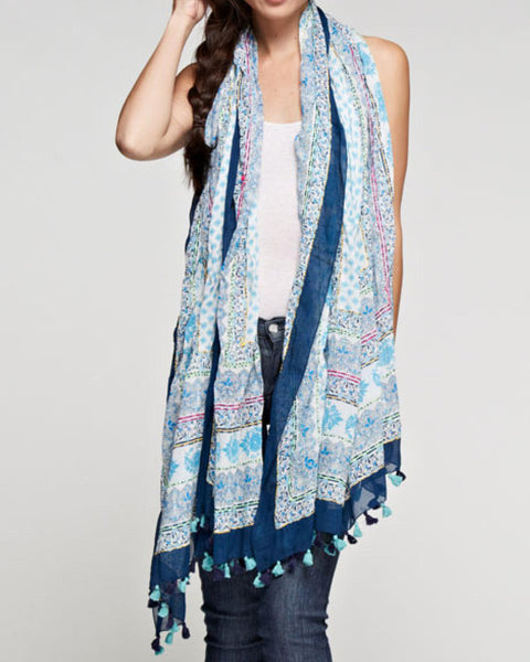 Sheer Printed Cotton Scarf