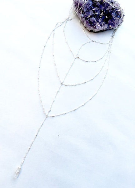 Herringbone Crystal Drop Necklace