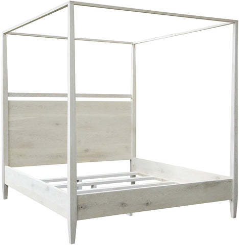 Washed Oak Modern 4-Poster Bed, King