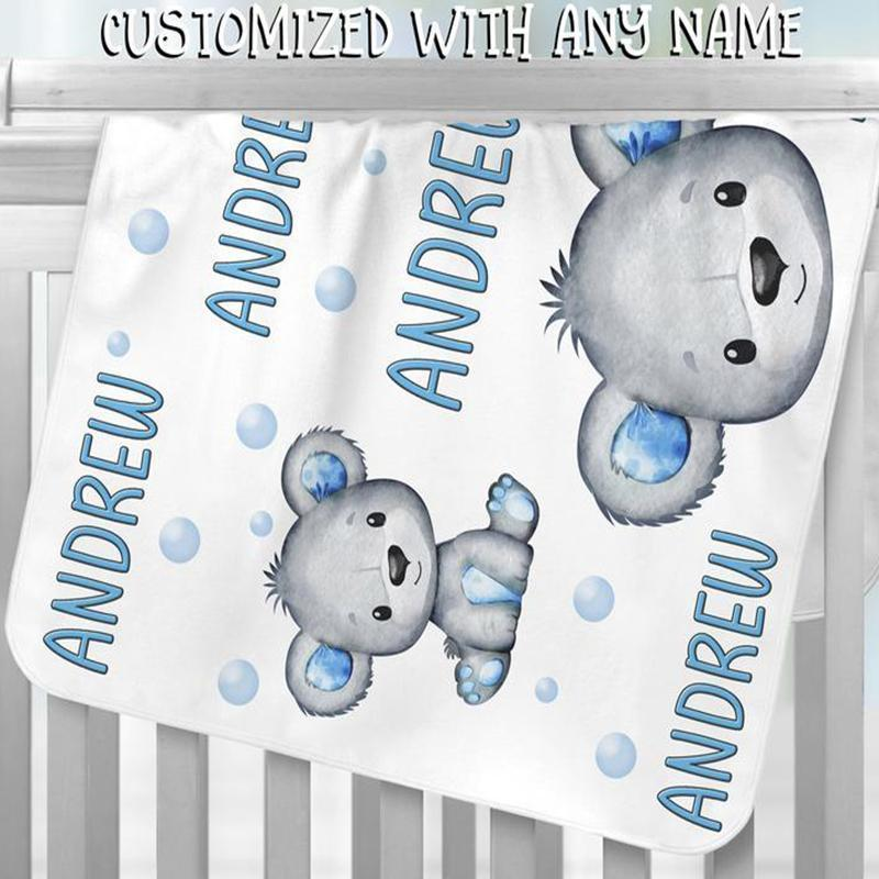 Custom KOALA BEAR Name Blankets II