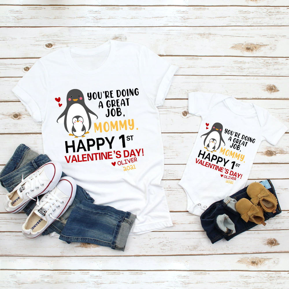 Custom Name Penguin Valentine's Day Baby Onesie, Mom Shirt, Fleece Blanket