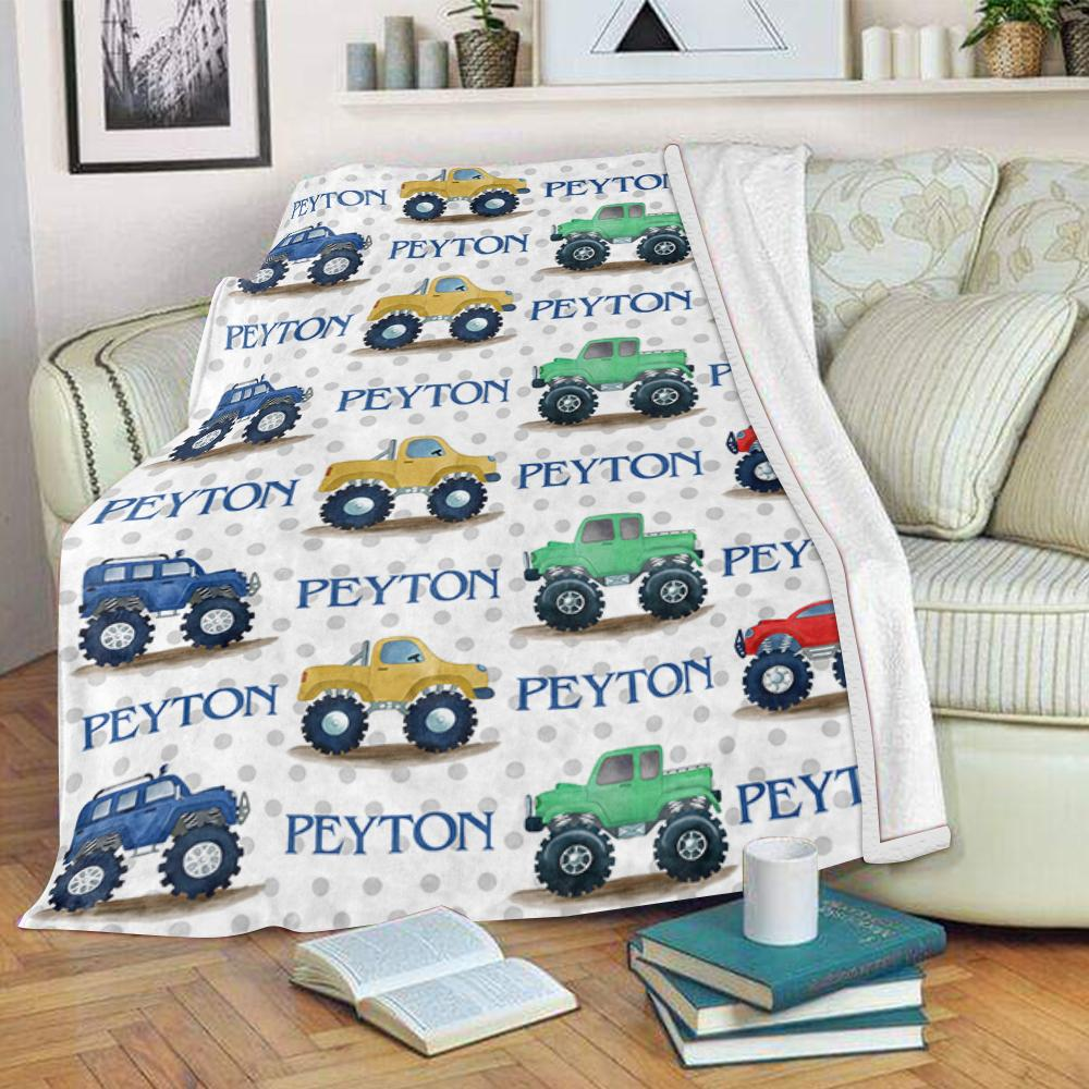 Custom Name Velveteen Plush Blanket Monster Truck - Made in USA