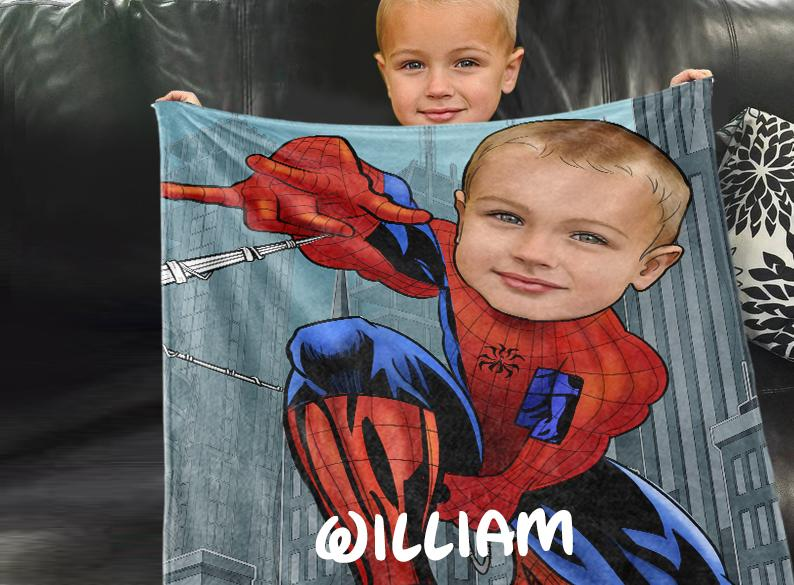 Personalized Hand-Drawing Kid's Photo Portrait Fleece Blanket IV-BUY 2 SAVE 10%