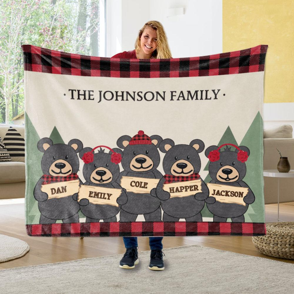 Personalized Christmas Family Member Fleece Blanket III