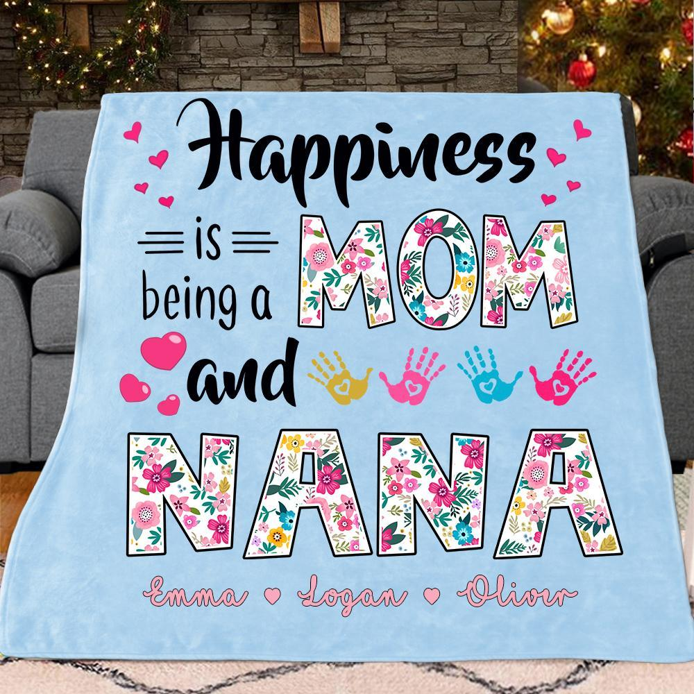 Custom Double Titles Christmas Blanket with Grandkids' Names