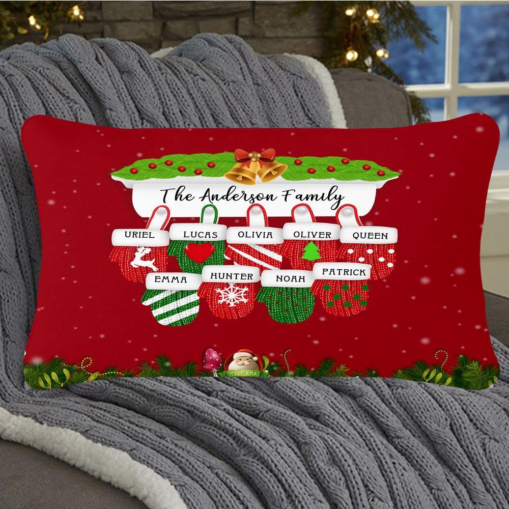 Personalized Christmas Gloves Family Pillowcase With Name
