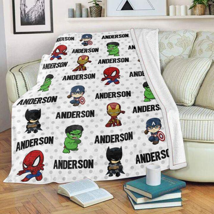 Custom Name Velveteen Plush Blanket for Boys II - Made in USA