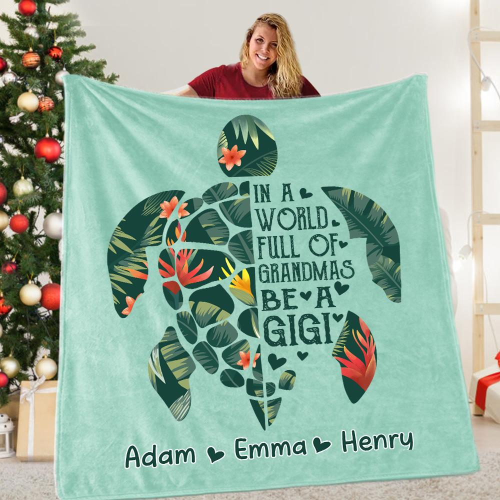Custom Turtle Grandparent Blanket with Kids' Names