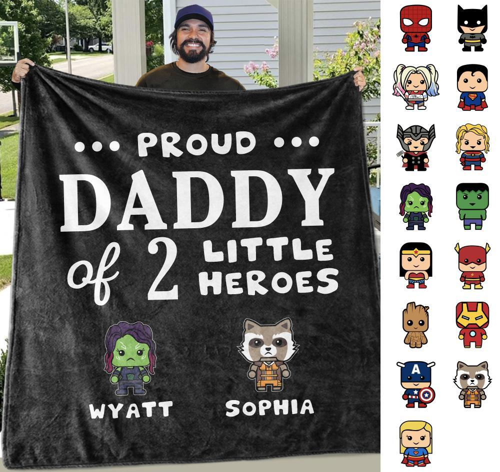 Personalized Proud Dad of Little Heroes Blankets with Names