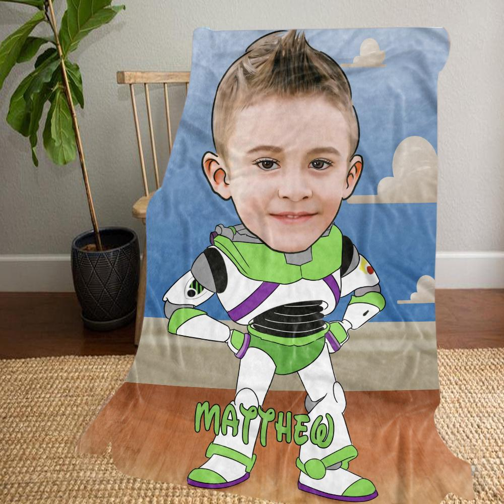 Personalized Hand-Drawing Kid's Photo Portrait Fleece Blanket VIII