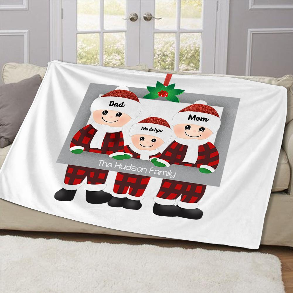 Personalized Christmas Family Member Fleece Blanket IV