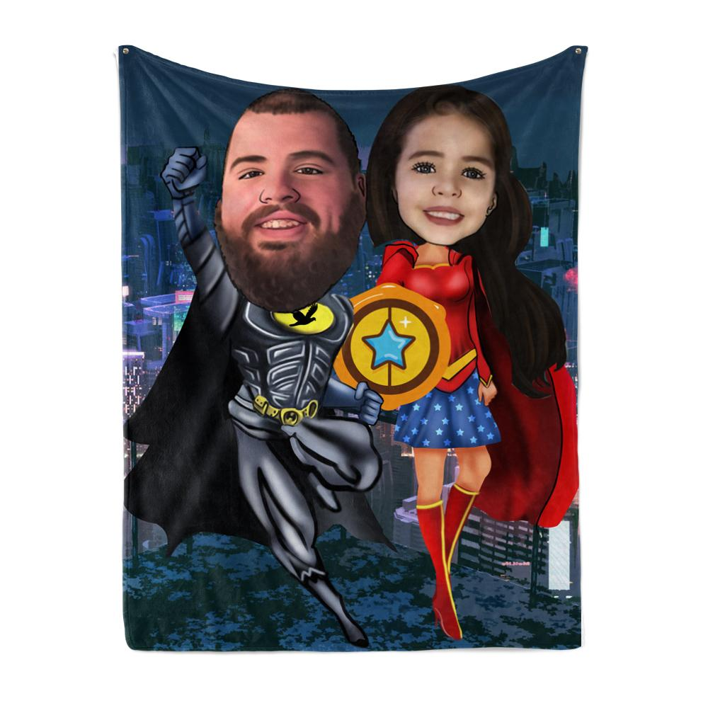 Personalized Hand-Drawing Photo Portrait Fleece Blanket I