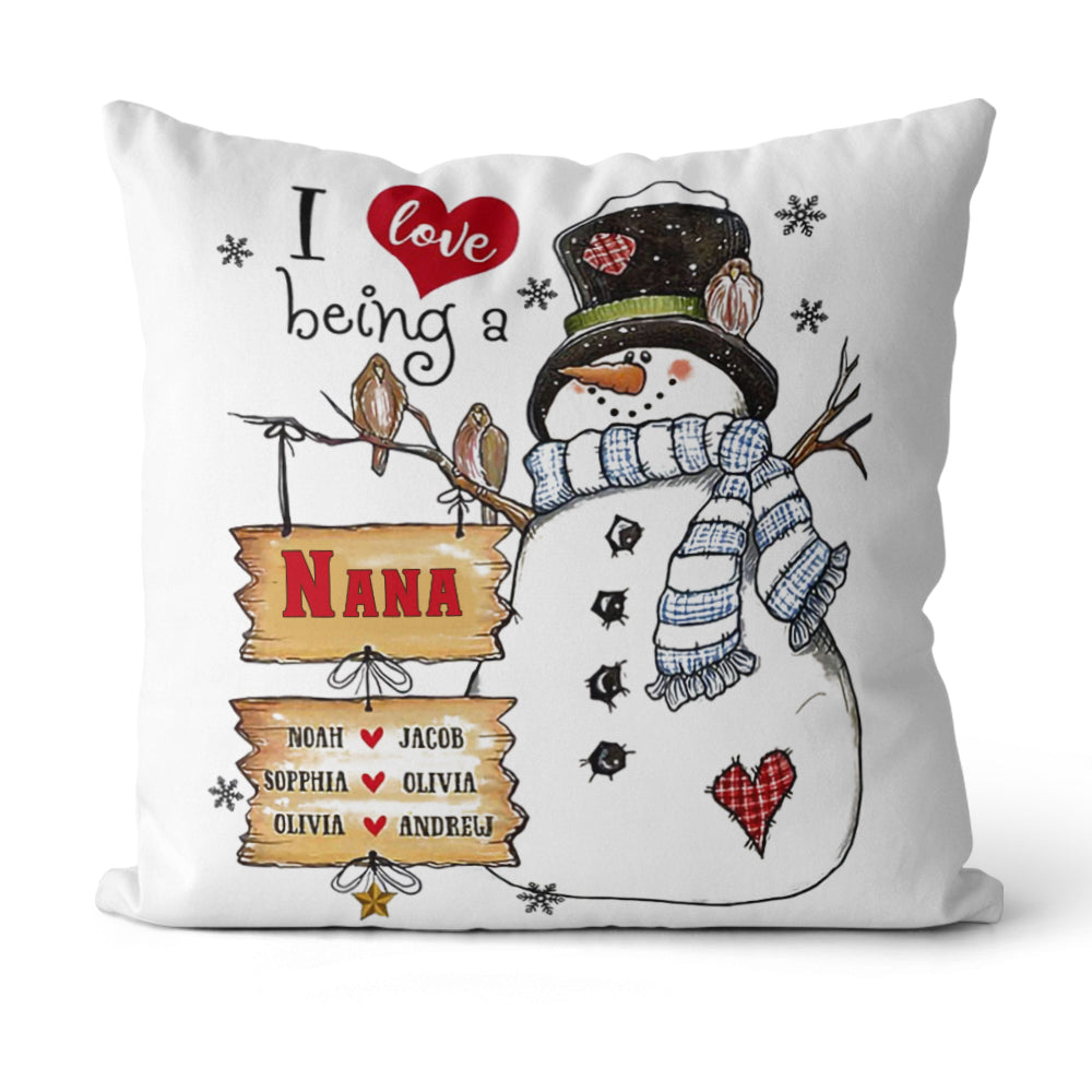 Personalized I Love Being Snowman Christmas Family Member Pillowcase With Name
