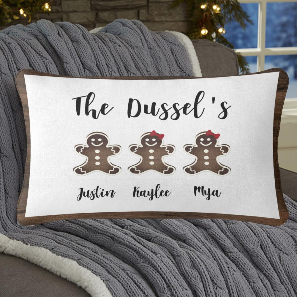 Personalized Gingerbread Christmas Family Pillowcase With Name I