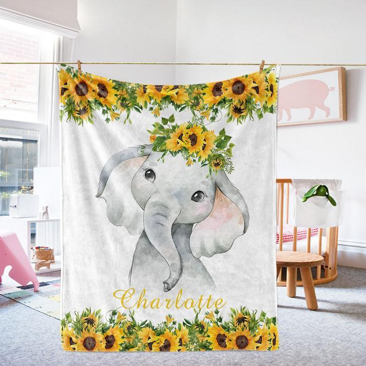 Custom Name Baby Elephant Velveteen Plush Blanket VIII - Made in USA