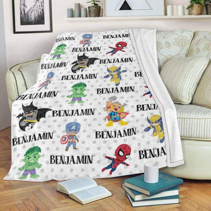 Custom Name Velveteen Plush Blanket for Boys I - Made in USA