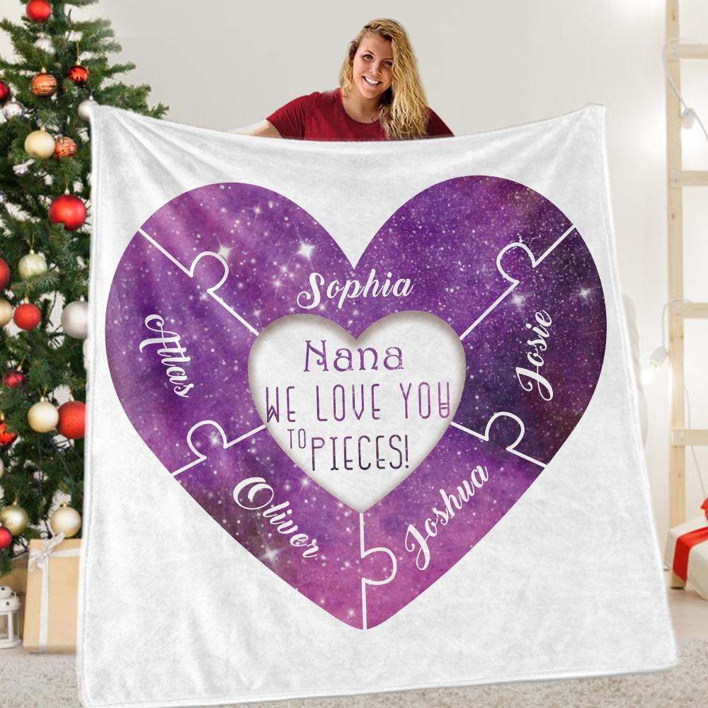 Custom Love You To Pieces Cozy Plush Fleece Blankets with Your Nickname & Kids' Names