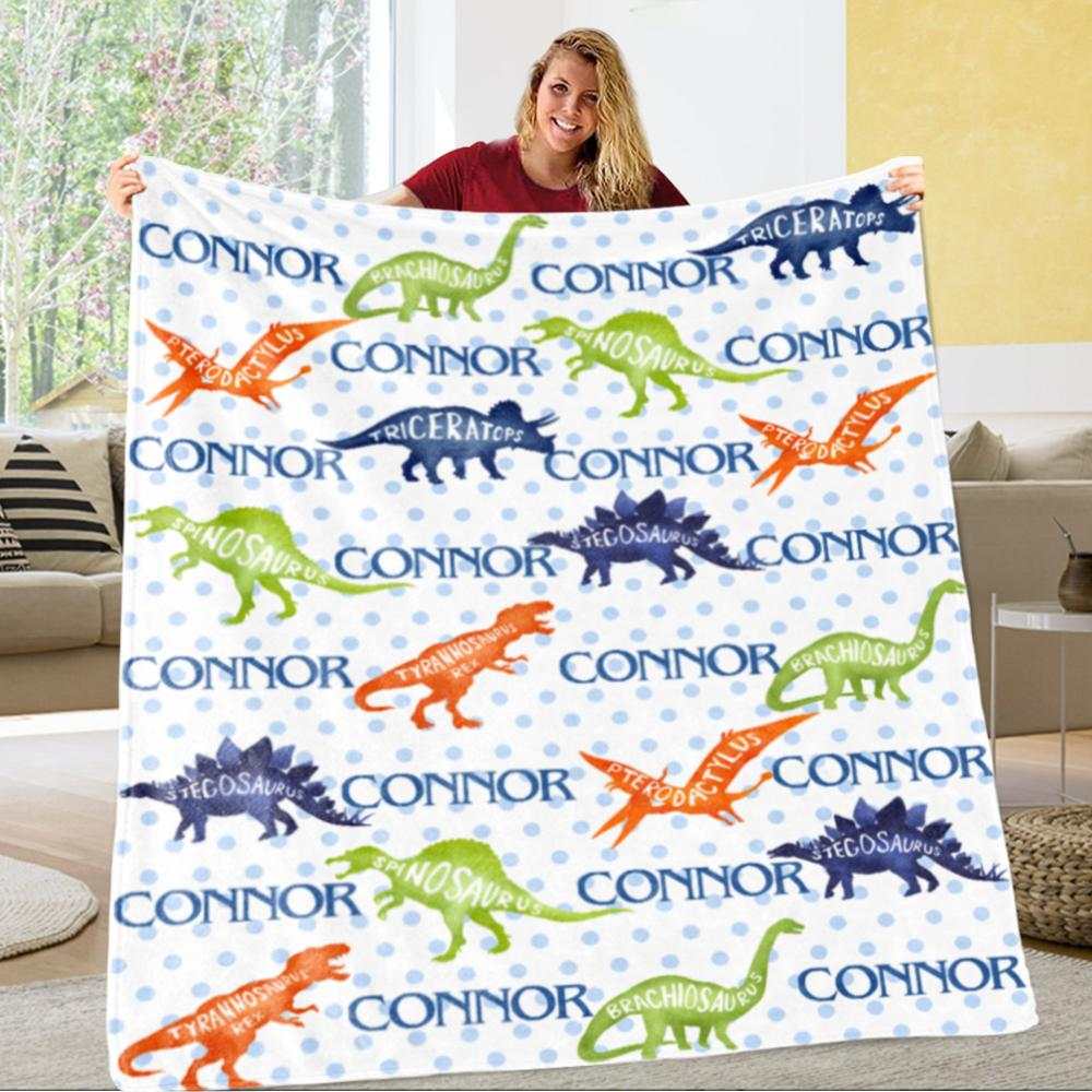 Personalized Name Dinosaur Cozy Plush Fleece Blankets