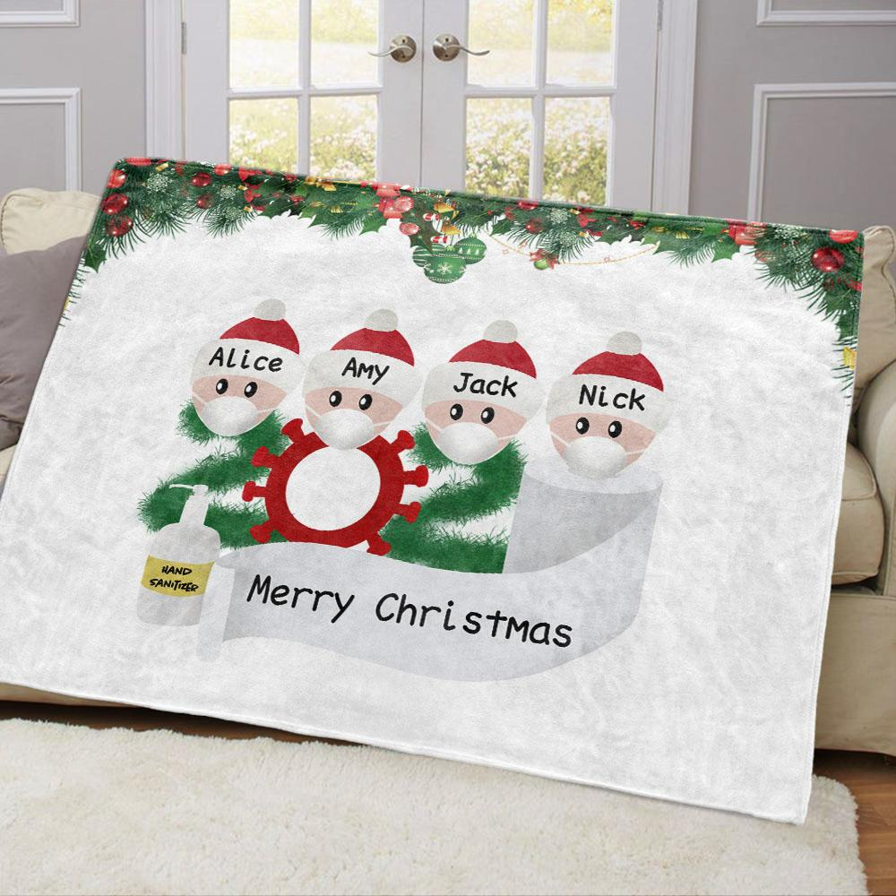 Personalized Christmas Family Member Fleece Blanket I