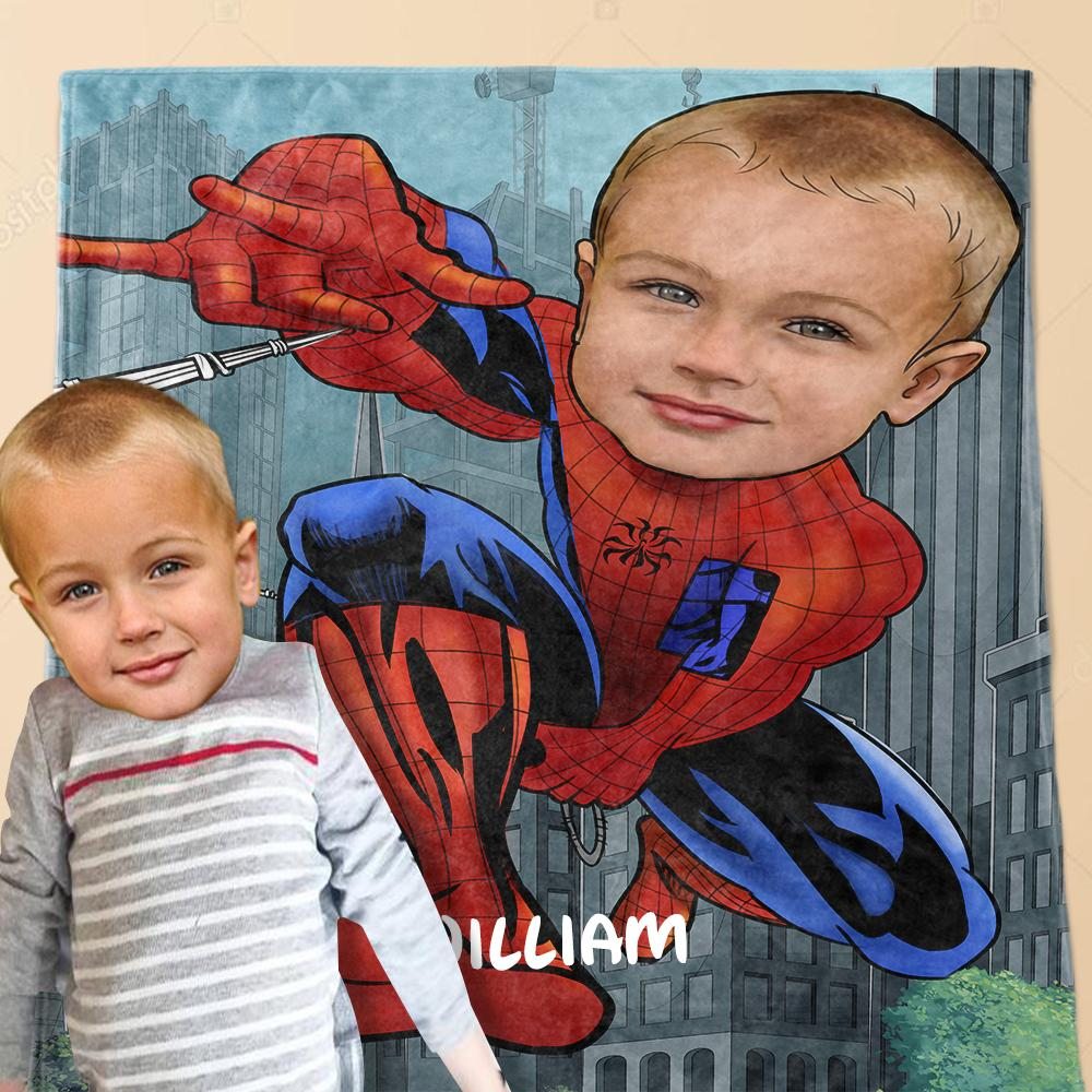 Personalized Hand-Drawing Kid's Photo Portrait Fleece Blanket IV