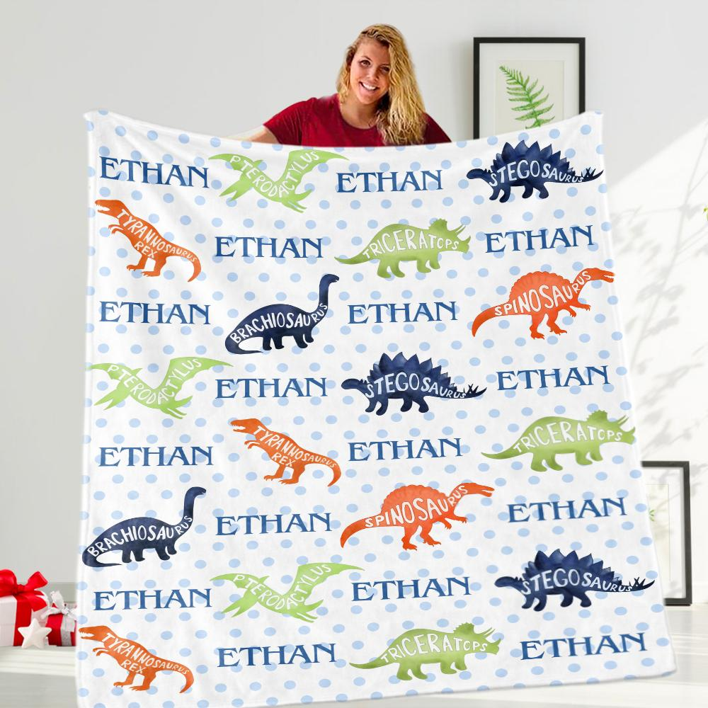 Custom Name Dinosaur Velveteen Plush Blanket - Made in USA