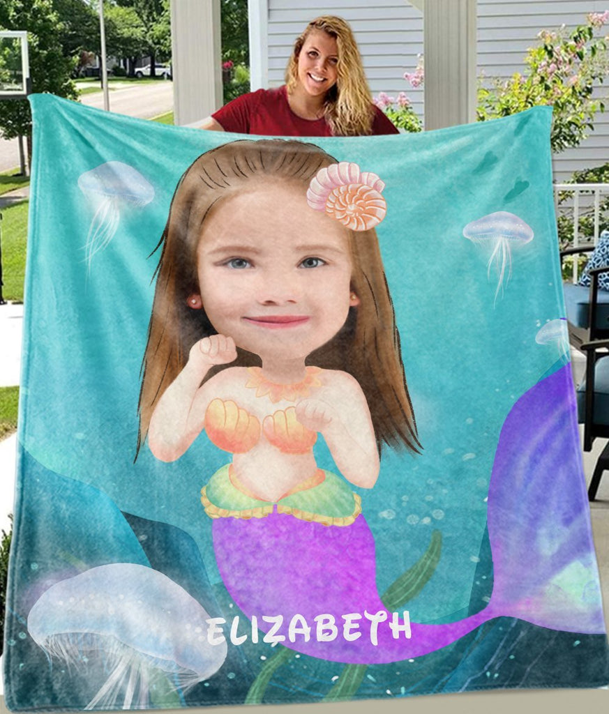 Personalized Mermaid Hand-Drawing Kid's Photo Portrait Fleece Blanket II-BUY 2 SAVE 10%