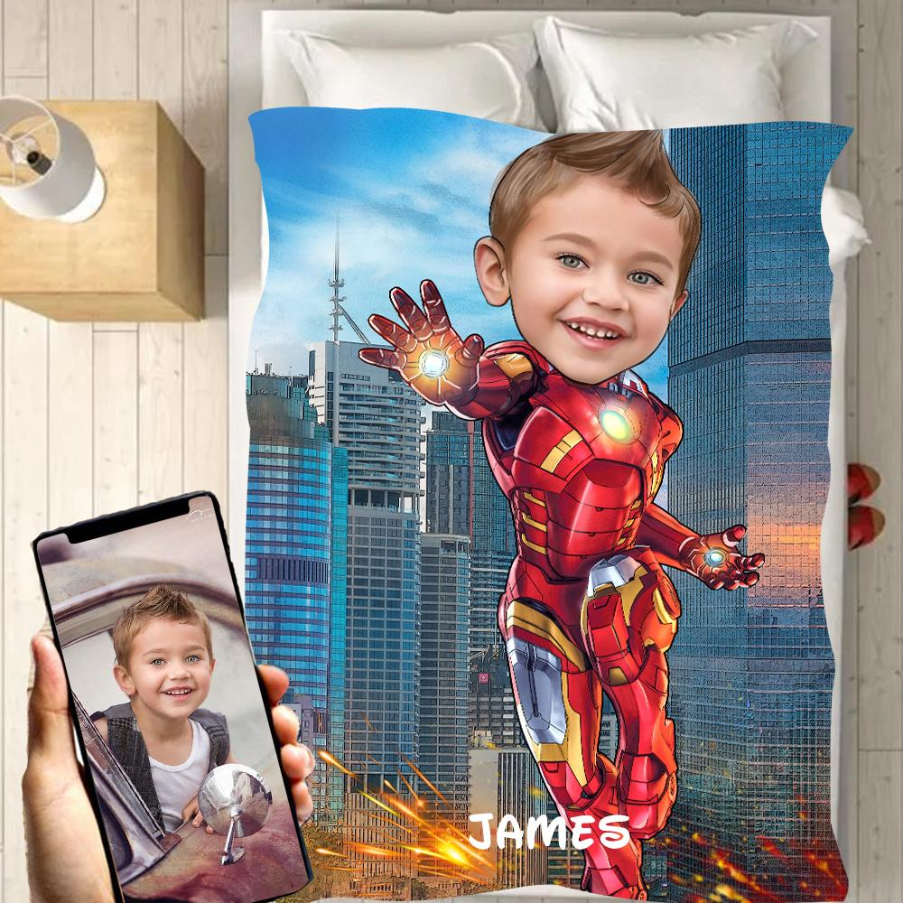 Personalized Hand-Drawing Kid's Photo Portrait Fleece Blanket V