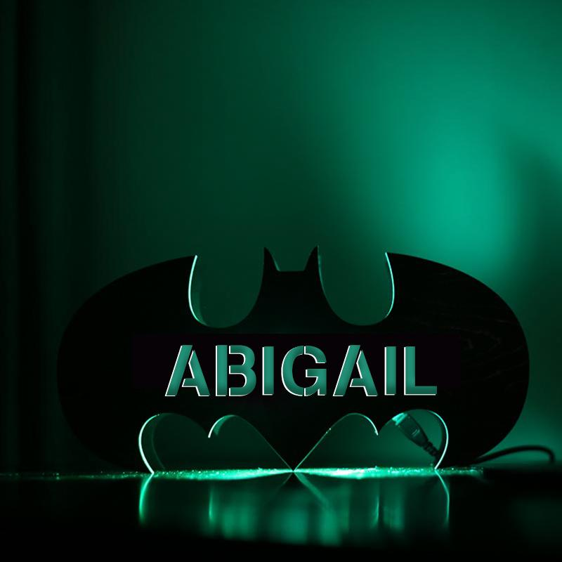Personalized Automatic Color Changing Wooden Bat Night Lamp With Name