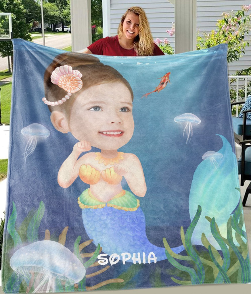 Personalized Mermaid Hand-Drawing Kid's Photo Portrait Fleece Blanket I