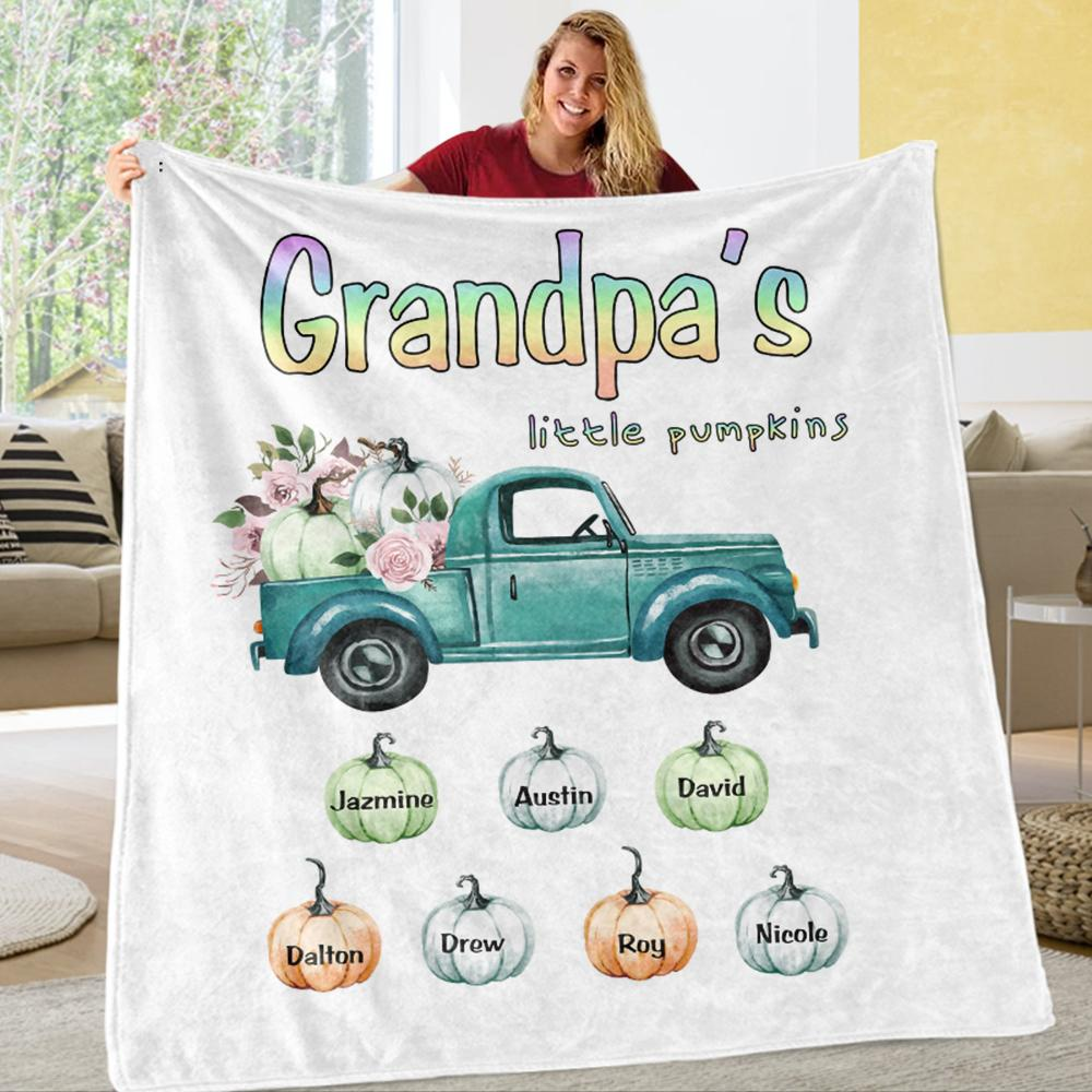 Personalized Pumpkin Fleece Blankets with Your Nick & Kids' Names