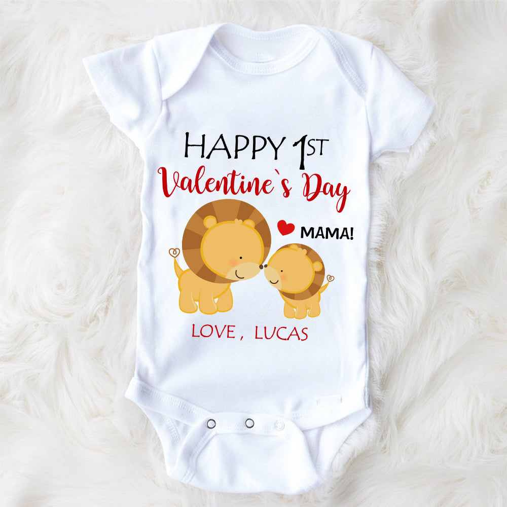 Custom Name Lion Valentine's Day Baby Onesie, Mom Shirt, Fleece Blanket