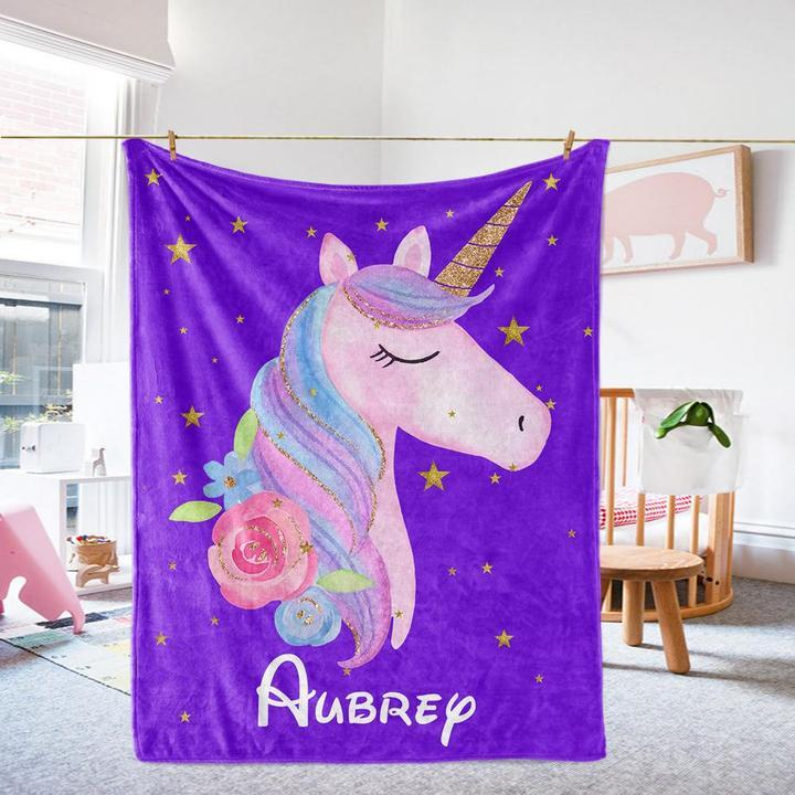 Custom Name Unicorn Velveteen Plush Blanket XIII - Made in USA