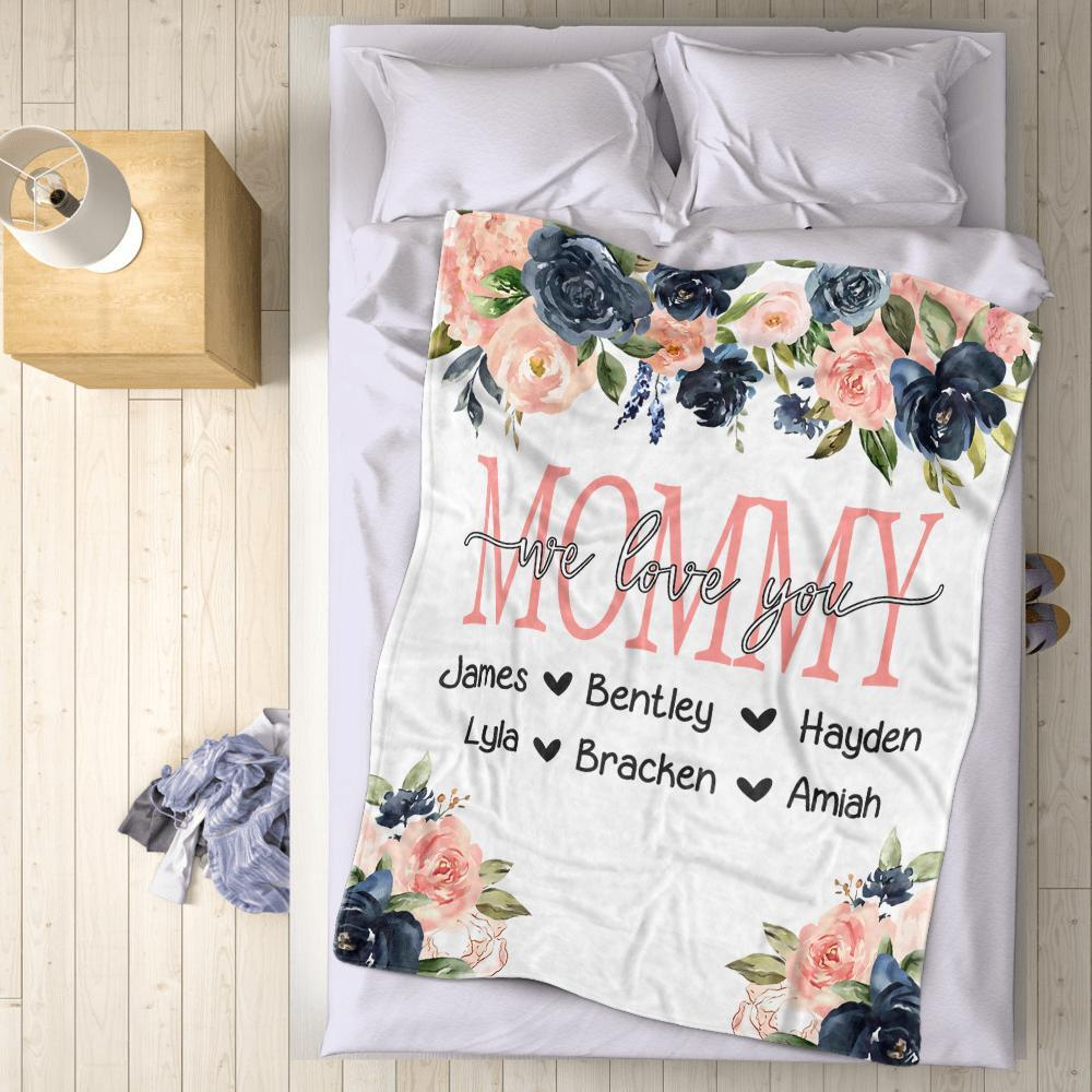 Custom Watercolor Floral Cozy Plush Fleece Blankets with Your Nick & Kids' Names-BUY 2 SAVE 10%