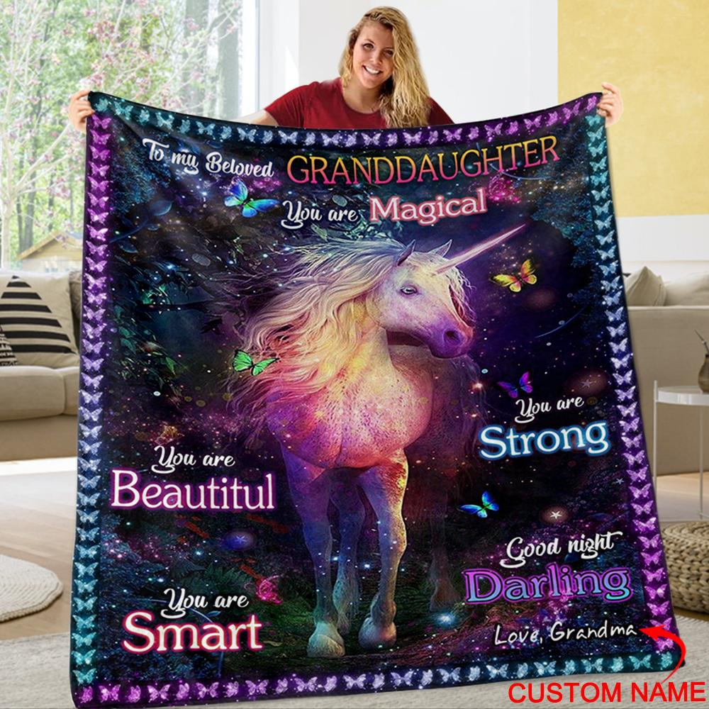 Personalized To My Granddaughter Fleece Blanket With Custom Name IV
