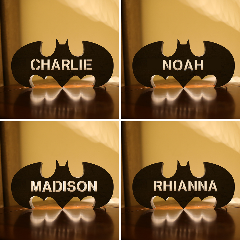Personalized Wooden Bat Night Lamp With Name