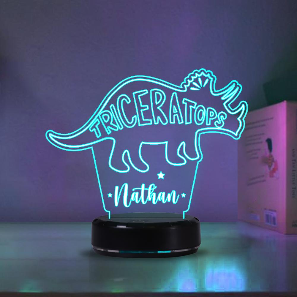 Custom Dinosaur Children's Night Lights with Name / 7 Color Changing LED Lamp