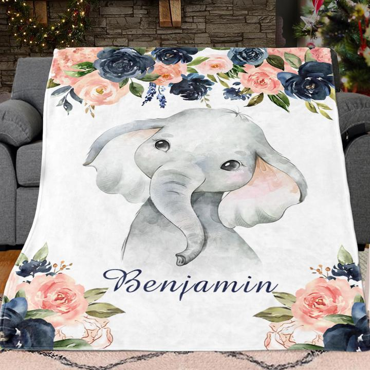 Custom Name Baby Elephant Velveteen Plush Blanket VI - Made in USA