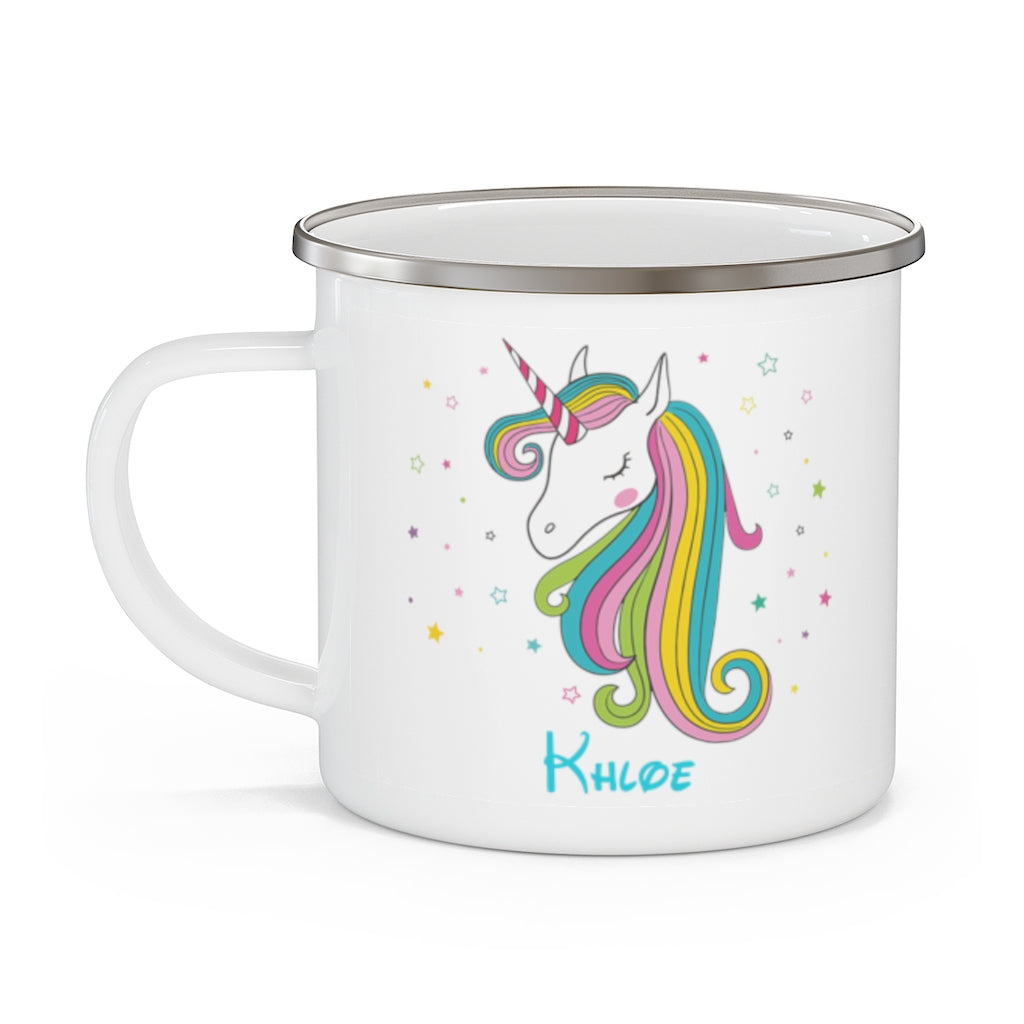 Custom Name Unicorn Enamel Campfire Mug Ⅶ