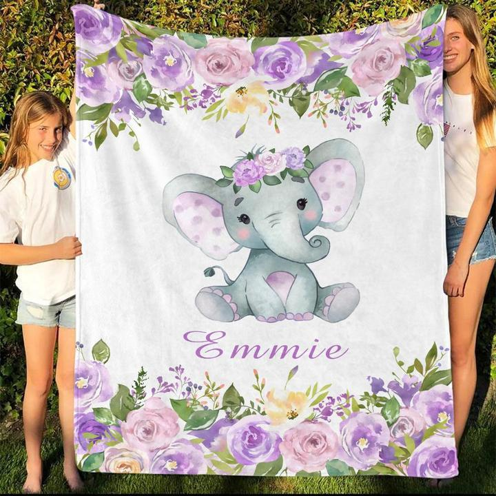 Custom Name Baby Elephant Velveteen Plush Blanket IX - Made in USA