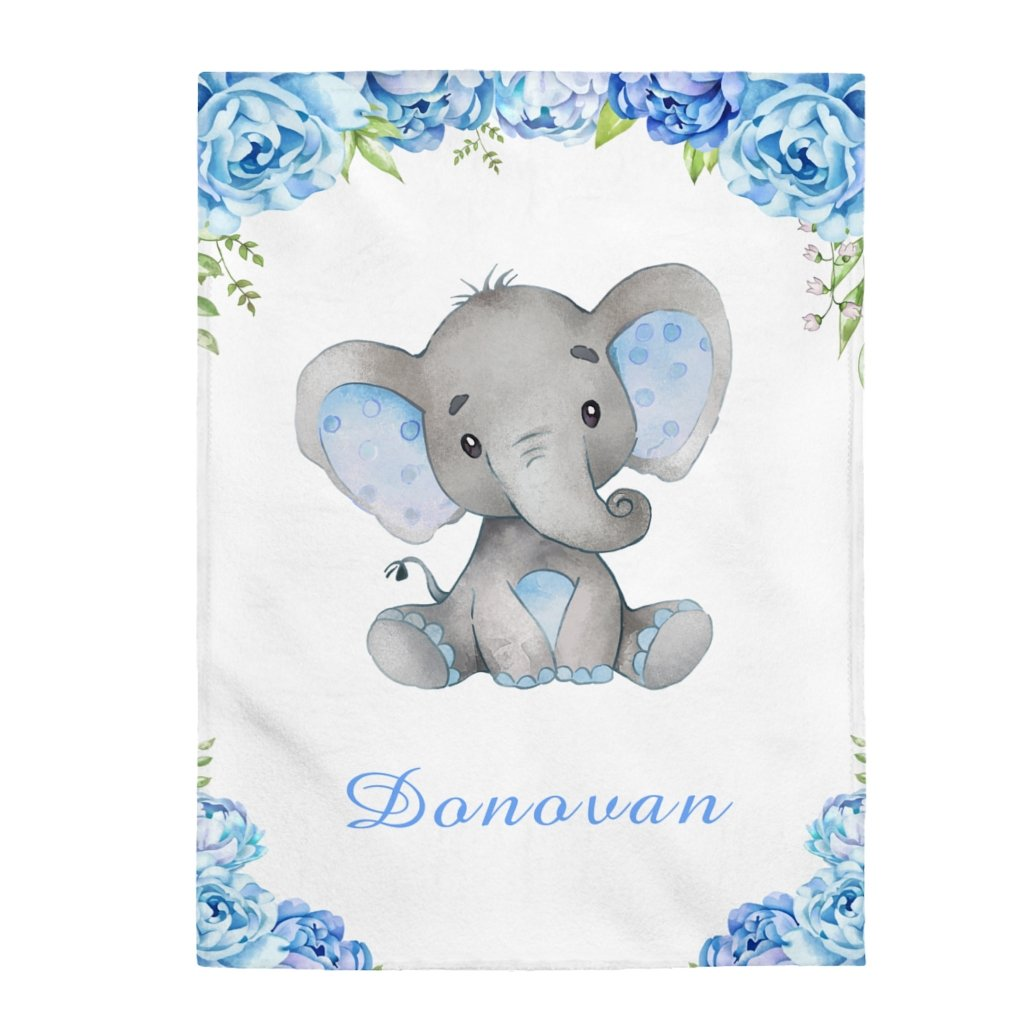 Custom Name Baby Elephant Velveteen Plush Blanket X - Made in USA