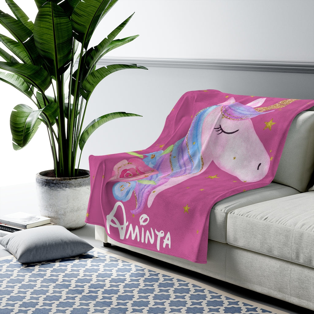 Custom Name Unicorn Velveteen Plush Blanket XII - Made in USA