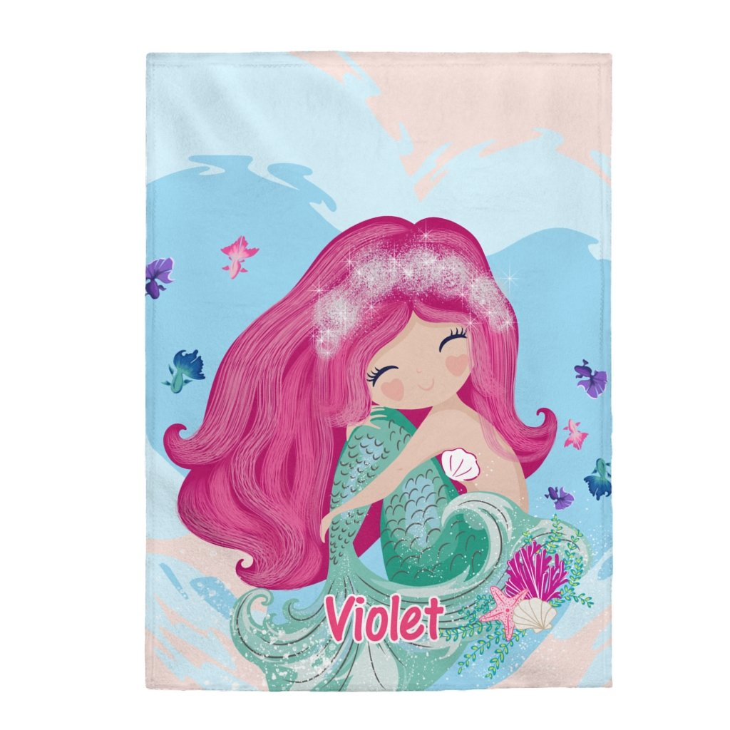 Custom Name Mermaid Velveteen Plush Blanket I - Made in USA