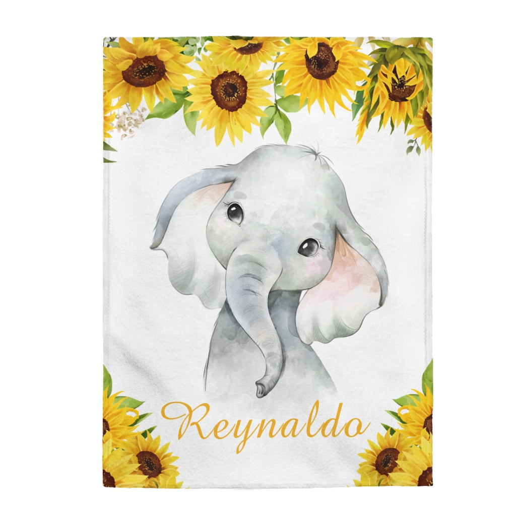 Custom Name Baby Elephant Velveteen Plush Blanket XI - Made in USA