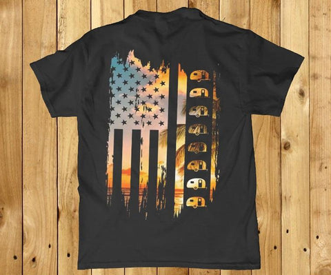 American flag camper camping unisex back print t-shirt