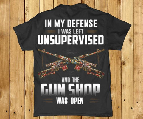 In my defense funny back print hunting mens t-shirt