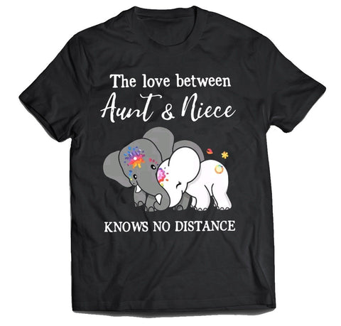The love between Aunt and Niece knows no distance cute Elephant Women's t-shirt