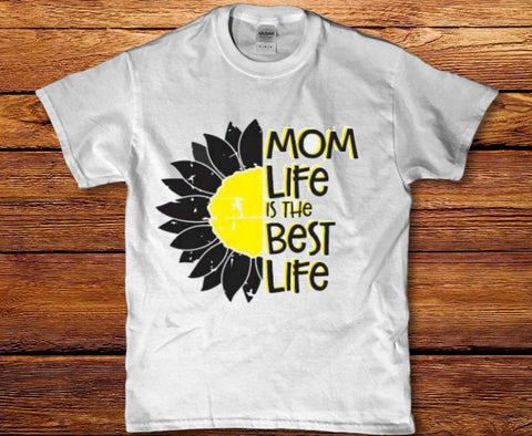 Mom life is the best life sunflower womens t-shirt