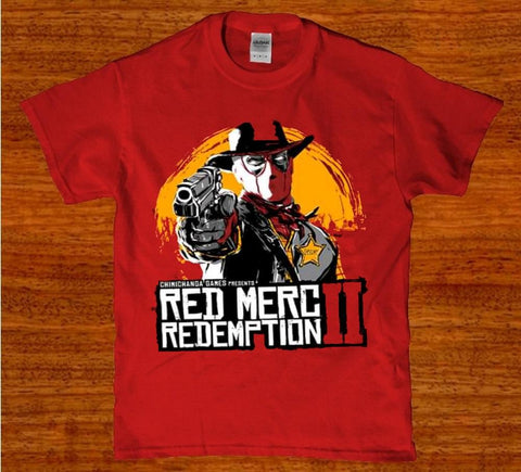 Red merc redemption 2 funny mens t-shirt
