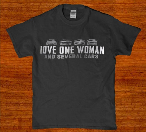 Love one woman and several cars mens t-shirt